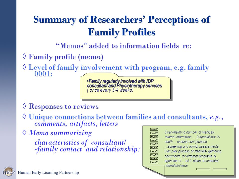 Summary of Researchers' Perceptions of Family Profiles