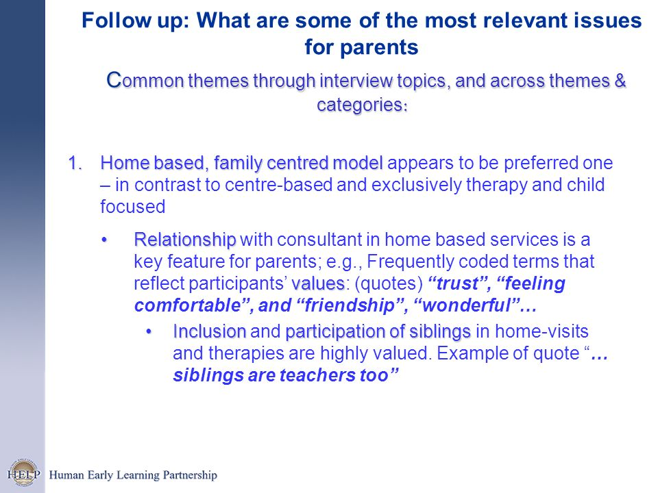 Follow up: What are some of the most relevant issues for parents Common themes through interview topics, and across themes & categories: