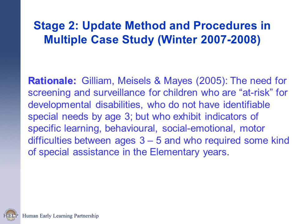 Stage 2: Update Method and Procedures in Multiple Case Study (Winter 2007-2008)