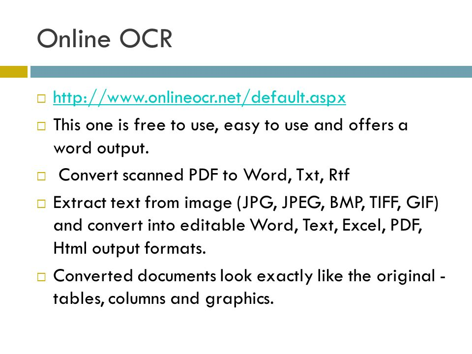 Online OCR http://www.onlineocr.net/default.aspx