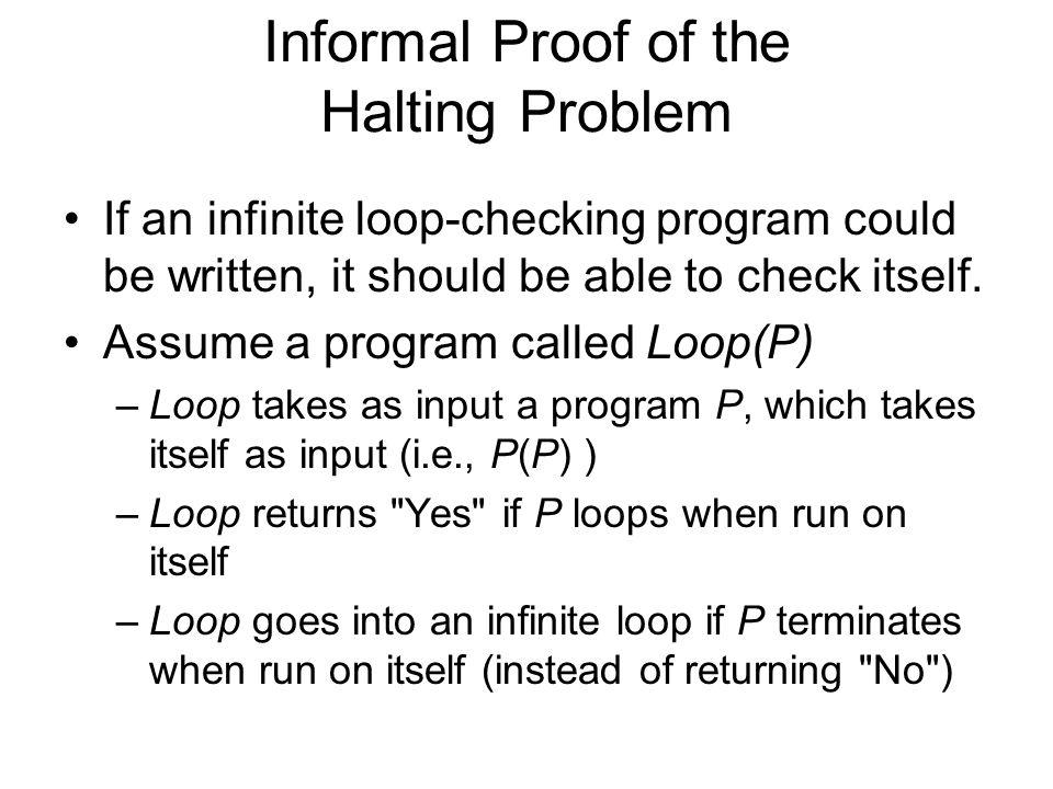 Informal Proof of the Halting Problem