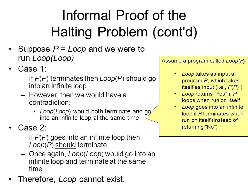 Informal Proof of the Halting Problem (cont d)