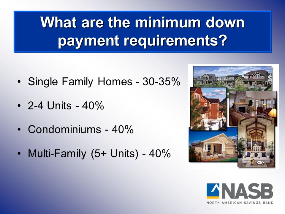 What are the minimum down payment requirements