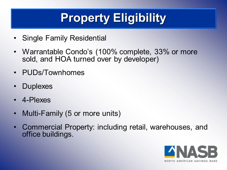 Property Eligibility Single Family Residential
