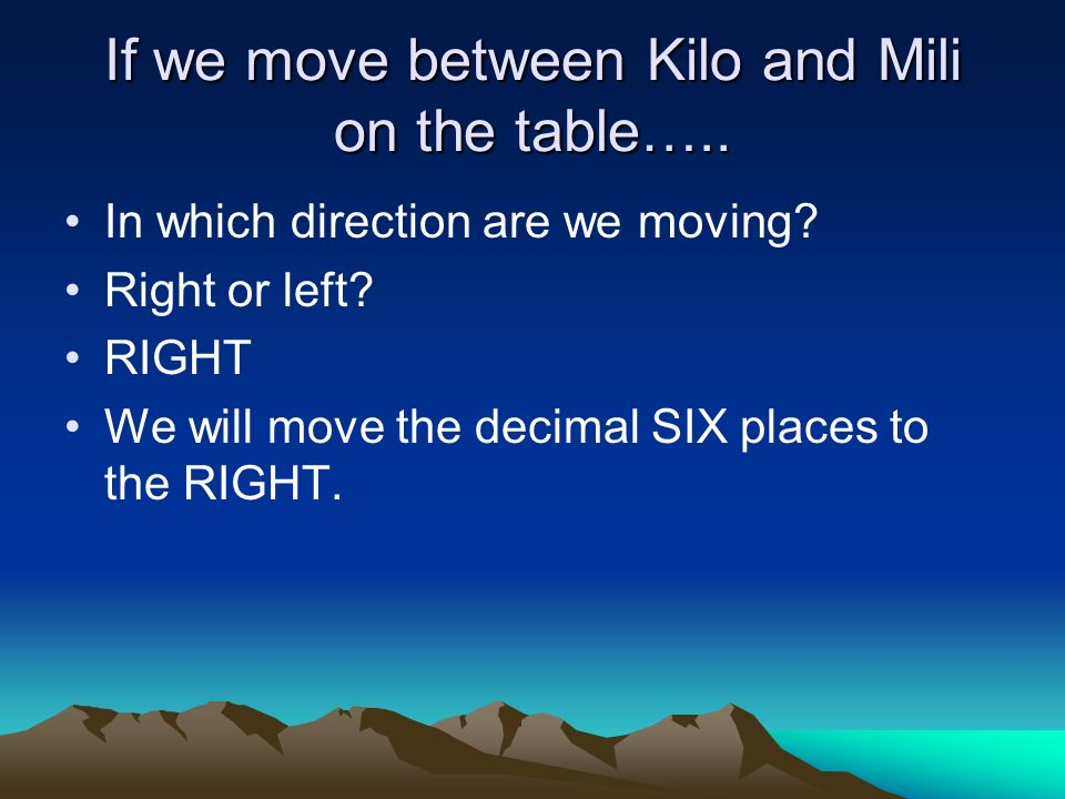 If we move between Kilo and Mili on the table…..