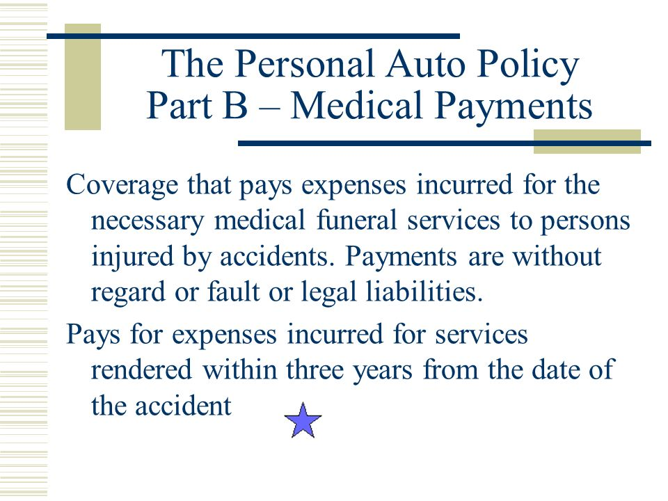 The Personal Auto Policy Part B – Medical Payments