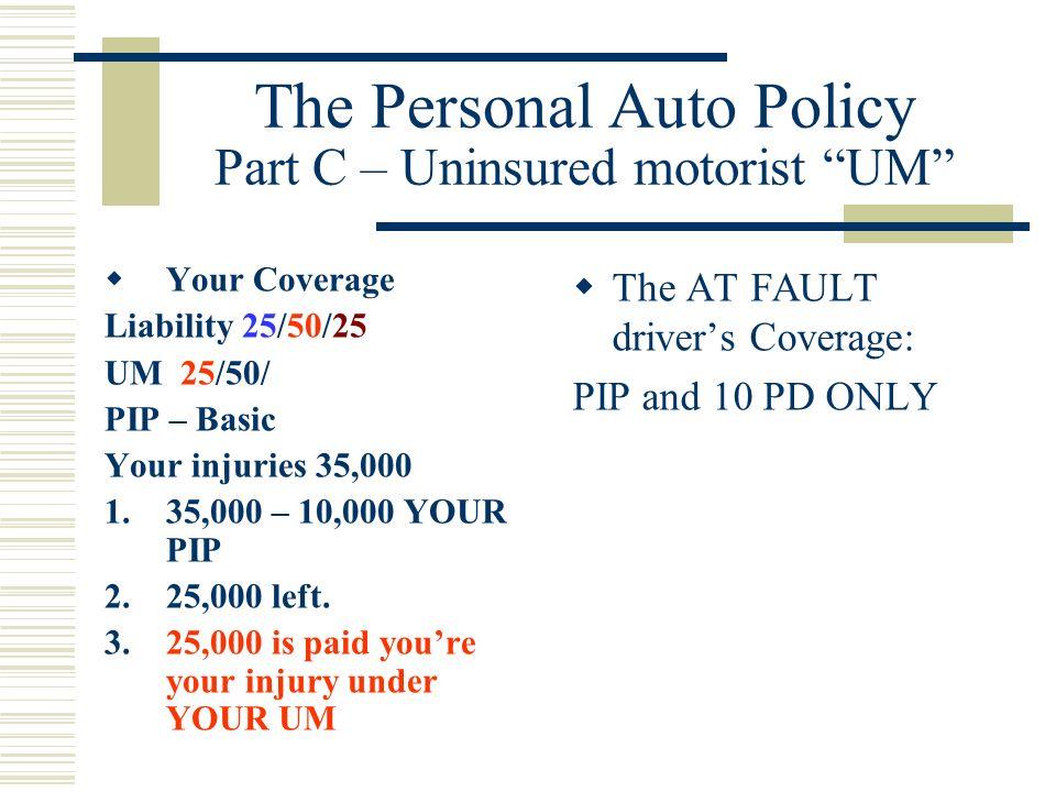 The Personal Auto Policy Part C – Uninsured motorist UM