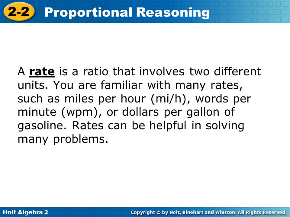A rate is a ratio that involves two different units
