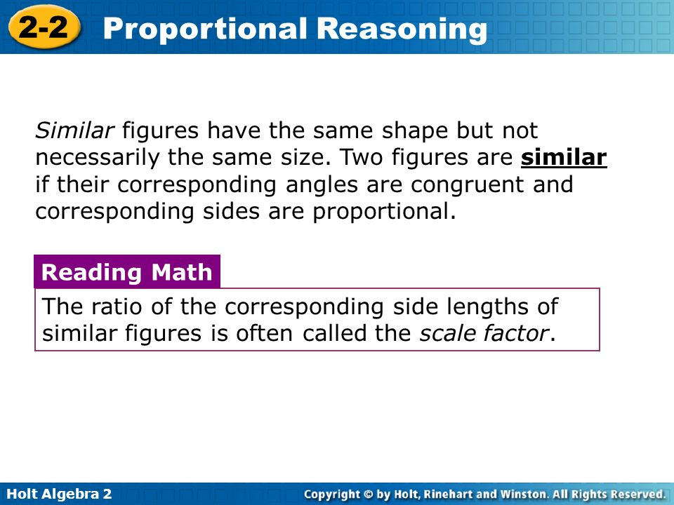 Similar figures have the same shape but not necessarily the same size