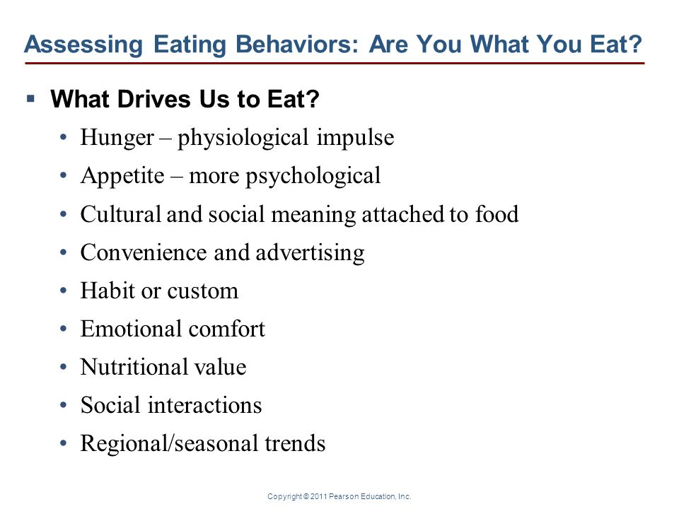 Assessing Eating Behaviors: Are You What You Eat