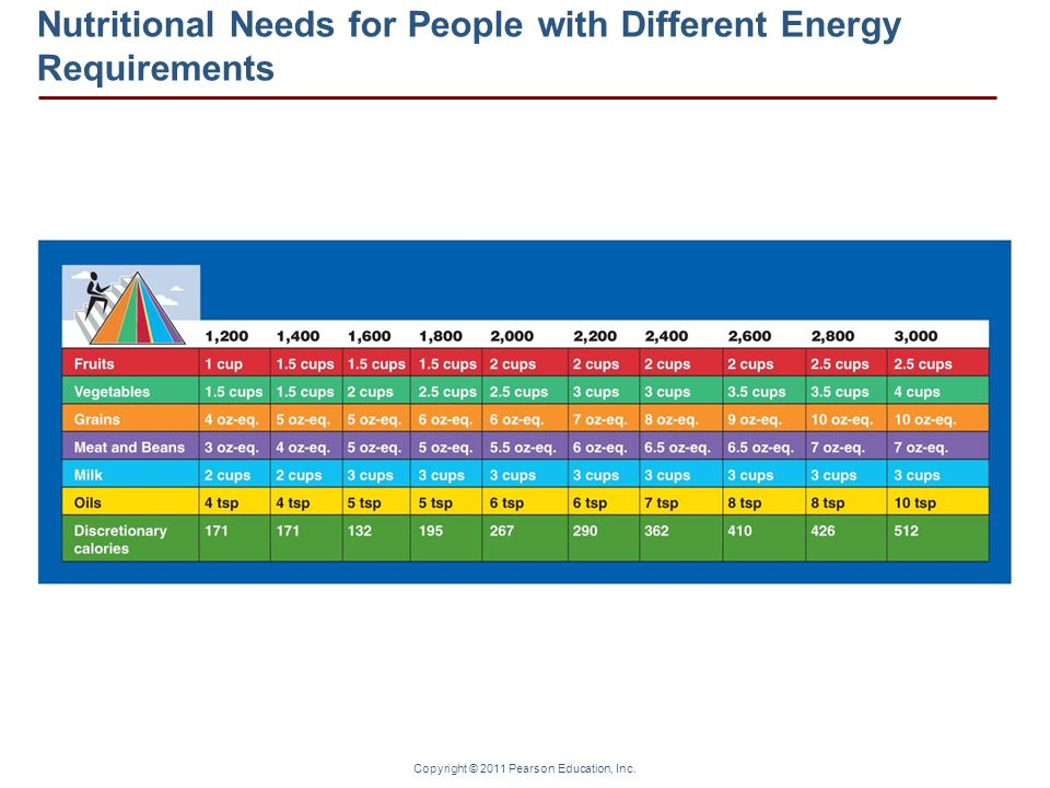 Nutritional Needs for People with Different Energy Requirements