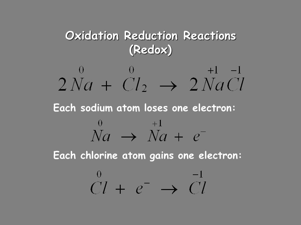 Oxidation Reduction Reactions (Redox)