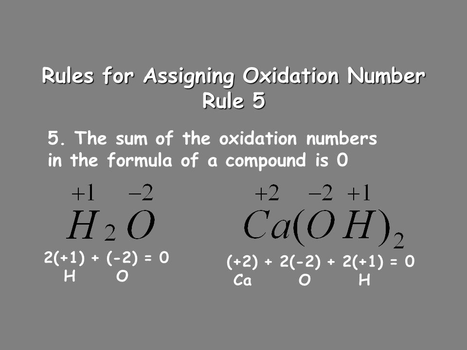 Rules for Assigning Oxidation Number Rule 5