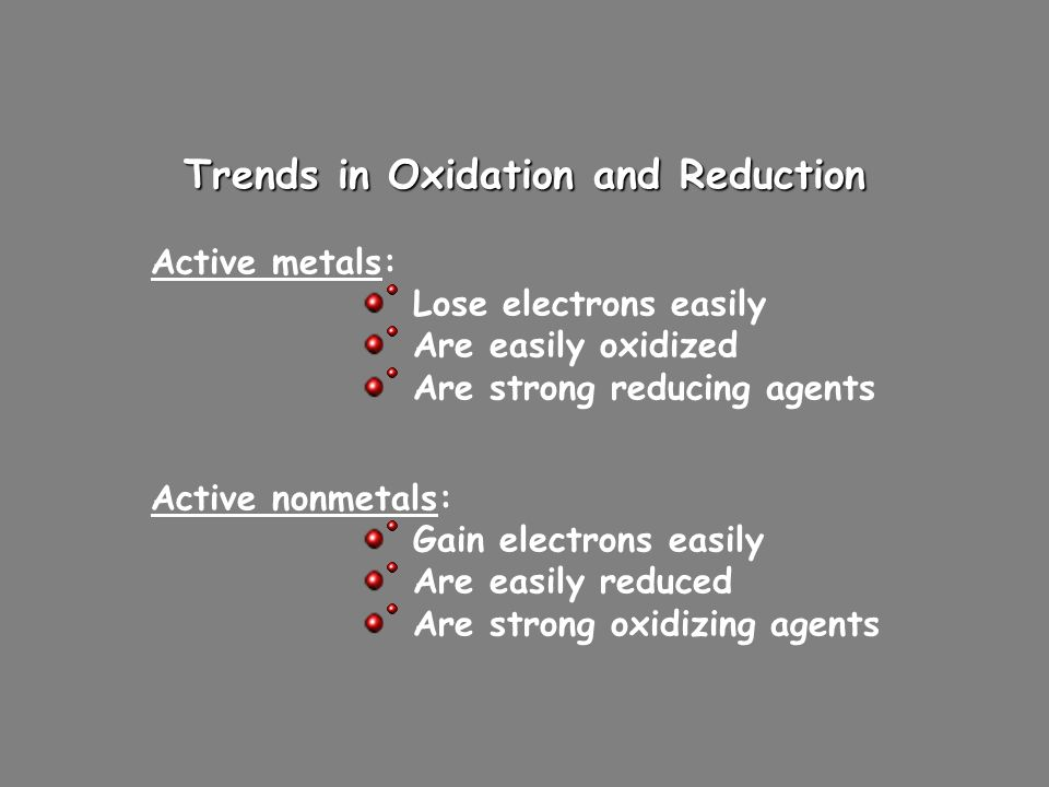 Trends in Oxidation and Reduction