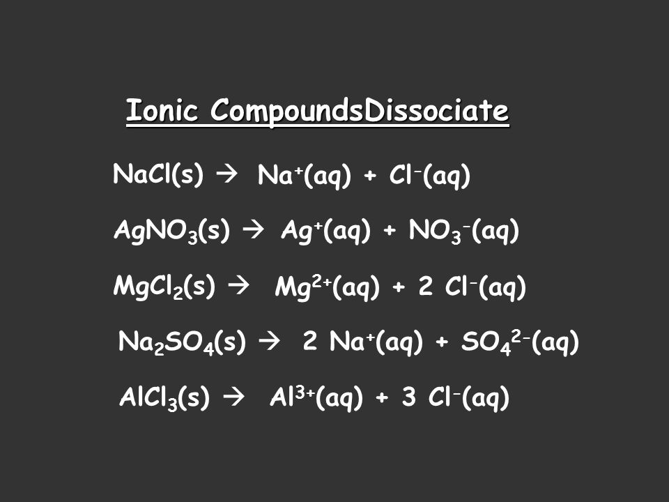 Ionic CompoundsDissociate