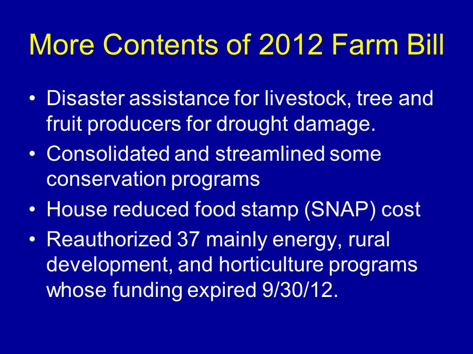 More Contents of 2012 Farm Bill