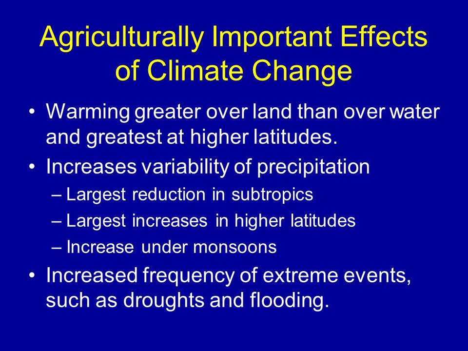 Agriculturally Important Effects of Climate Change