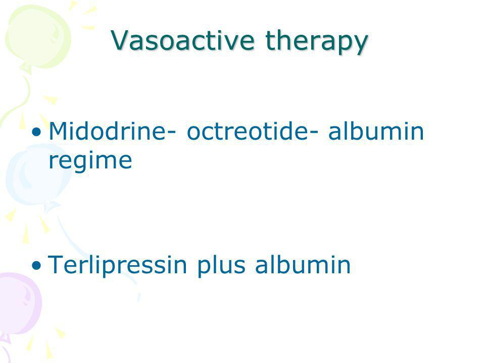 Vasoactive therapy Midodrine- octreotide- albumin regime