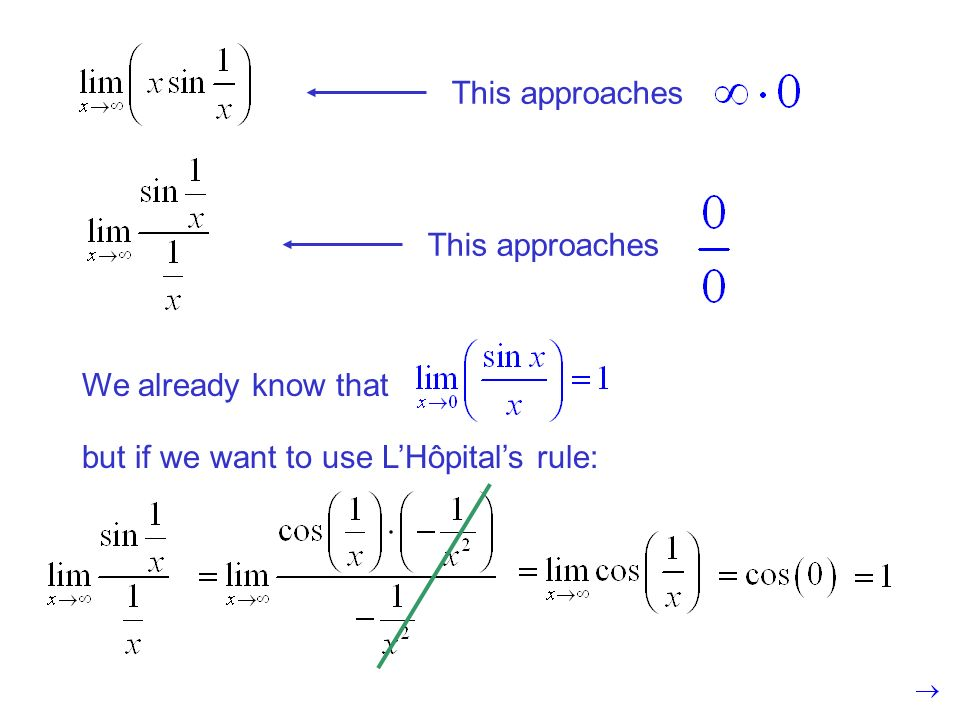 This approaches This approaches We already know that but if we want to use L'Hôpital's rule:
