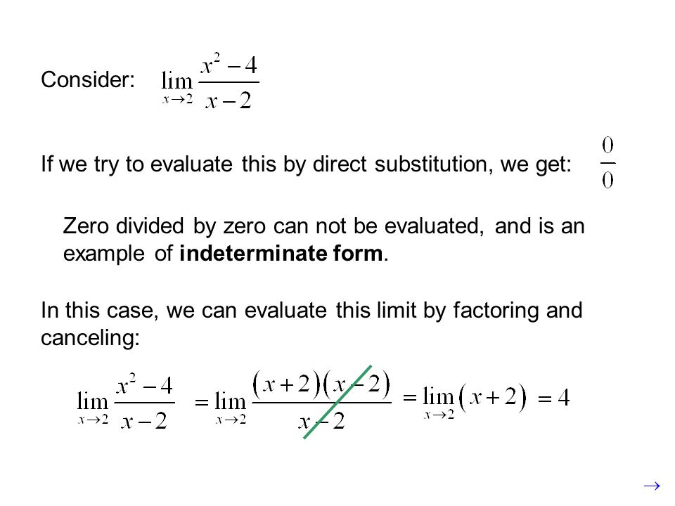 Consider:If we try to evaluate this by direct substitution, we get: