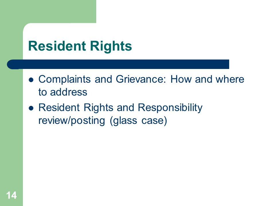 Resident Rights Complaints and Grievance: How and where to address