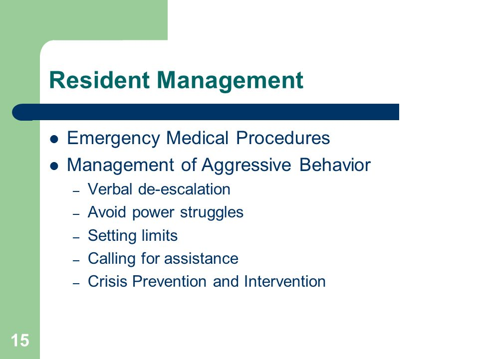 Resident Management Emergency Medical Procedures