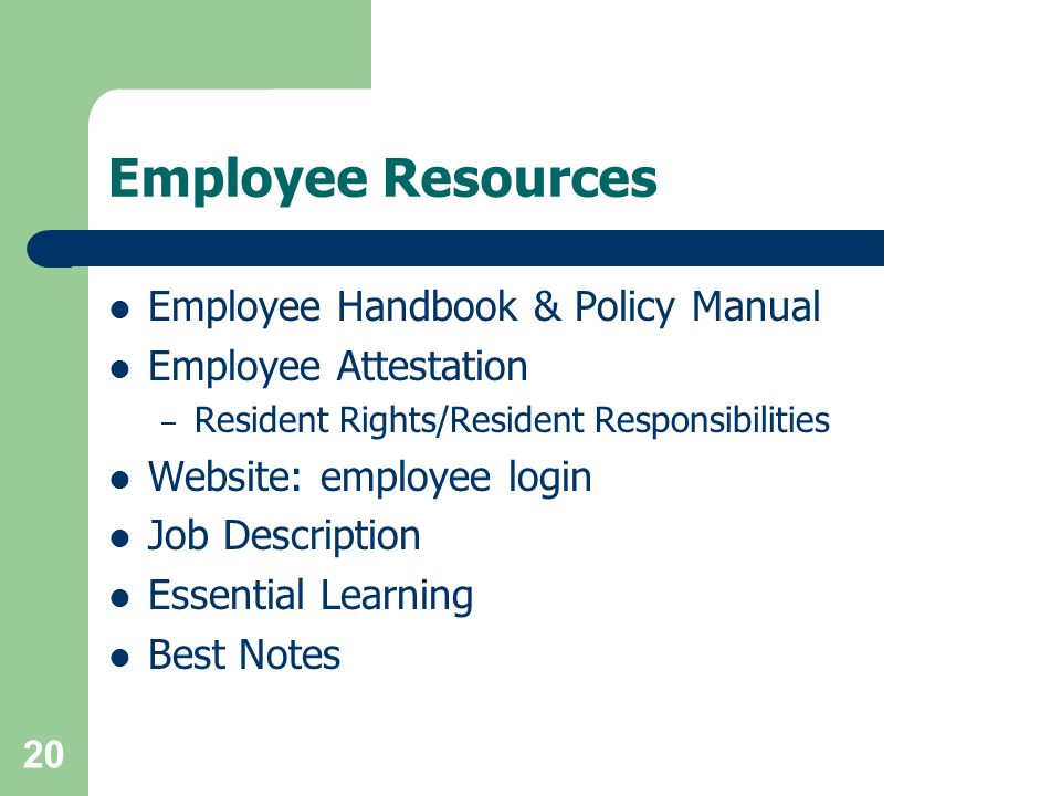 Employee Resources Employee Handbook & Policy Manual
