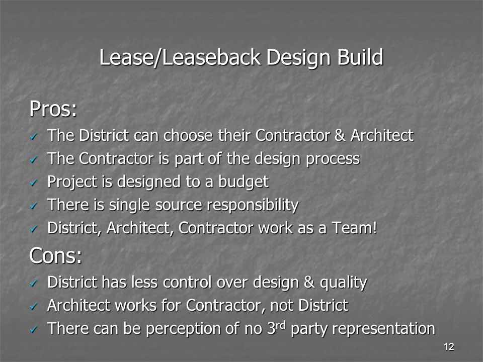 Lease/Leaseback Design Build