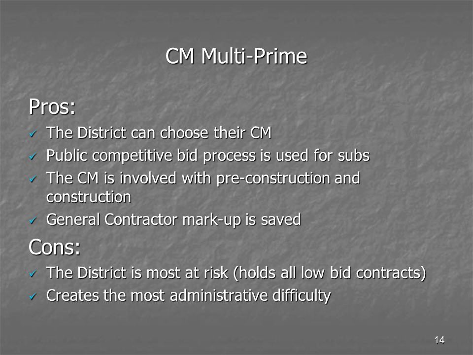 CM Multi-Prime Pros: Cons: The District can choose their CM
