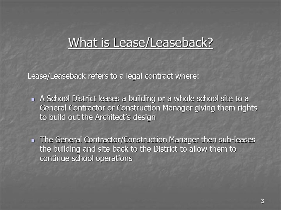 What is Lease/Leaseback