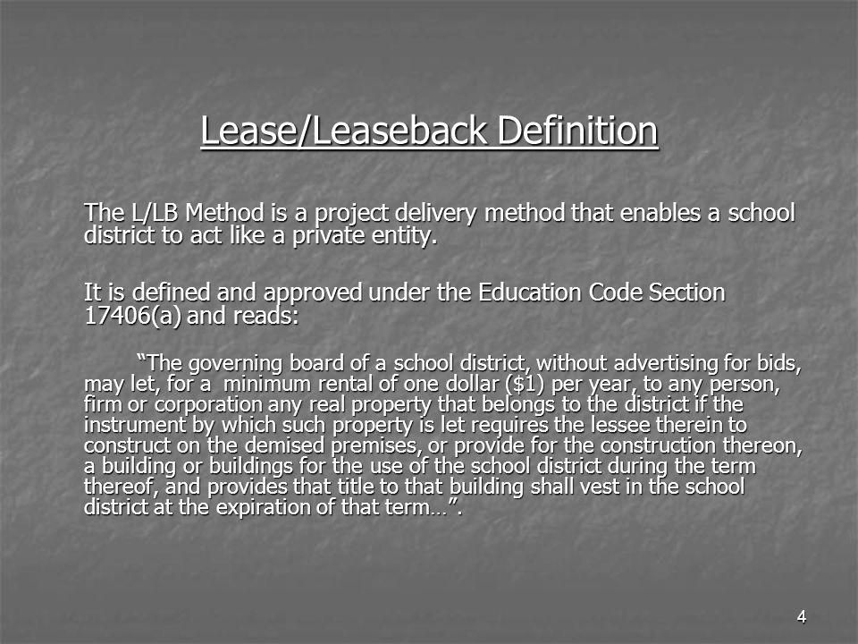 Lease/Leaseback Definition