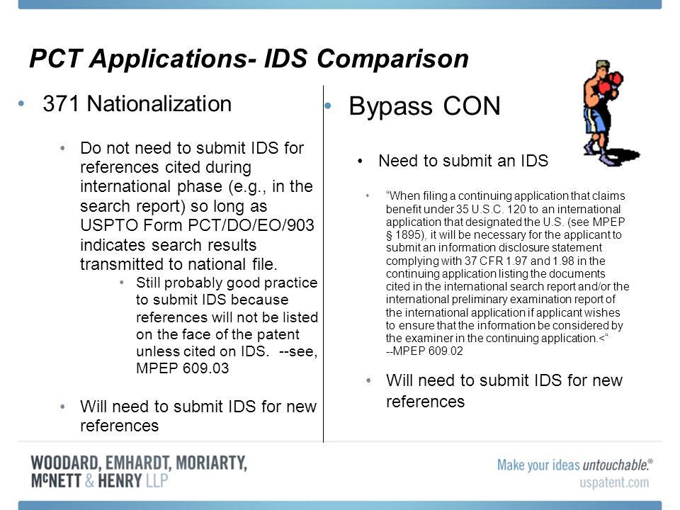 PCT Applications- IDS Comparison