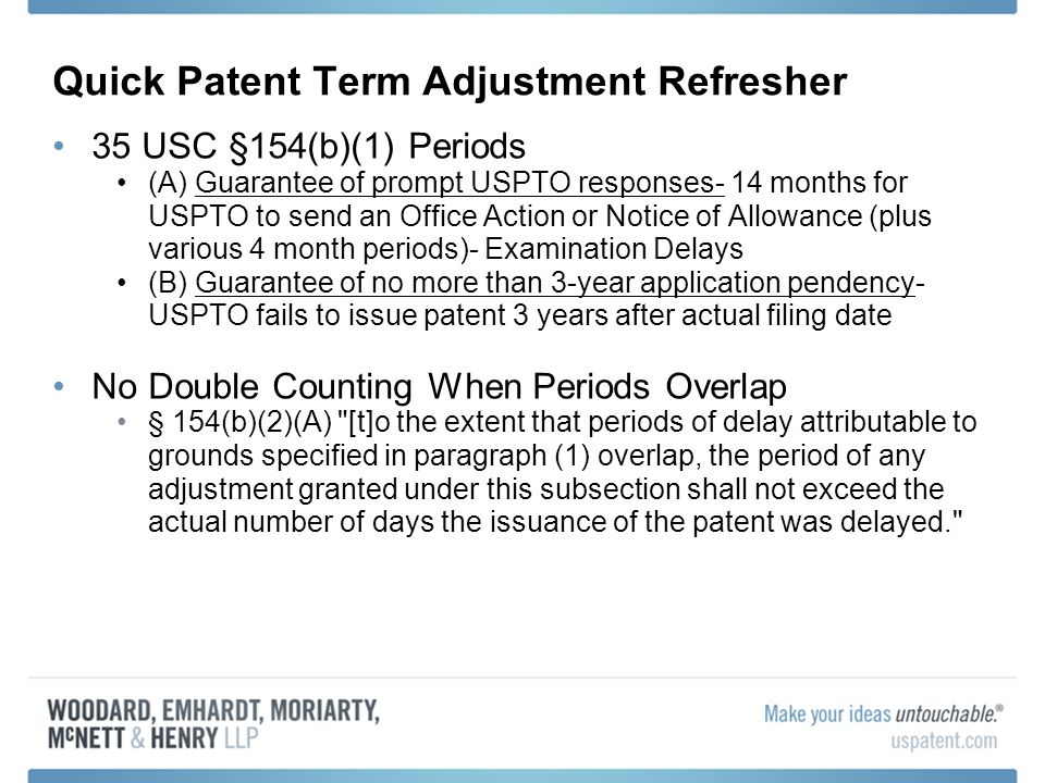 Quick Patent Term Adjustment Refresher