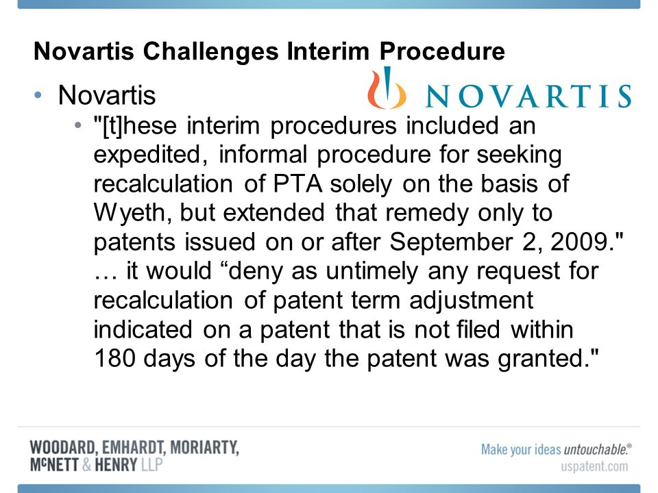 Novartis Challenges Interim Procedure
