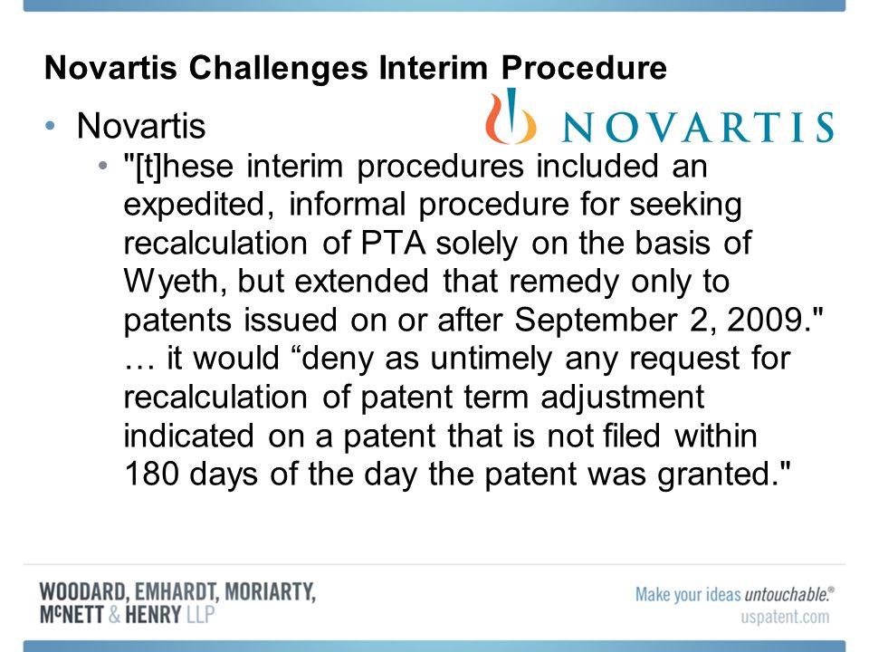 Novartis Challenges Interim Procedure