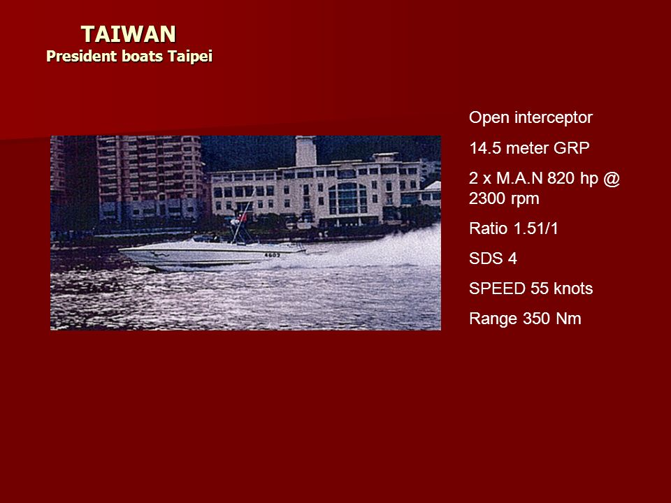 TAIWAN President boats Taipei