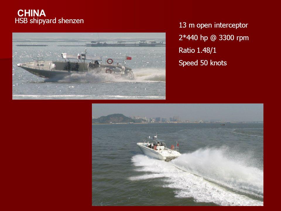 CHINA HSB shipyard shenzen 13 m open interceptor 2*440 hp @ 3300 rpm