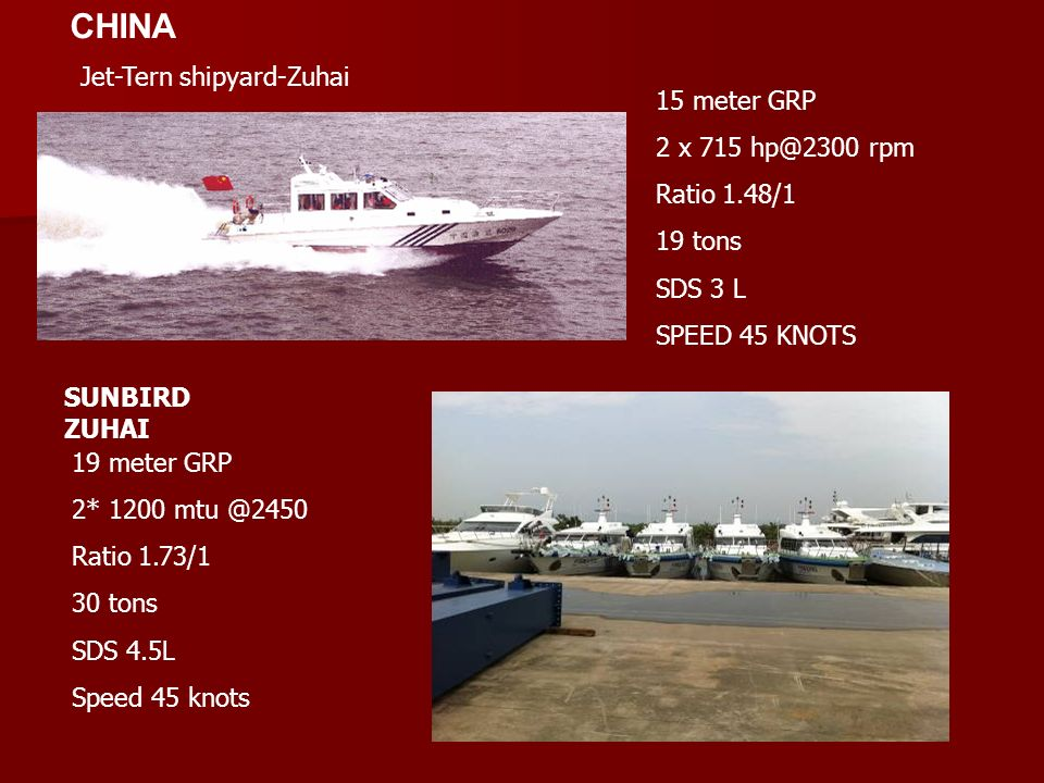 CHINA Jet-Tern shipyard-Zuhai 15 meter GRP 2 x 715 hp@2300 rpm