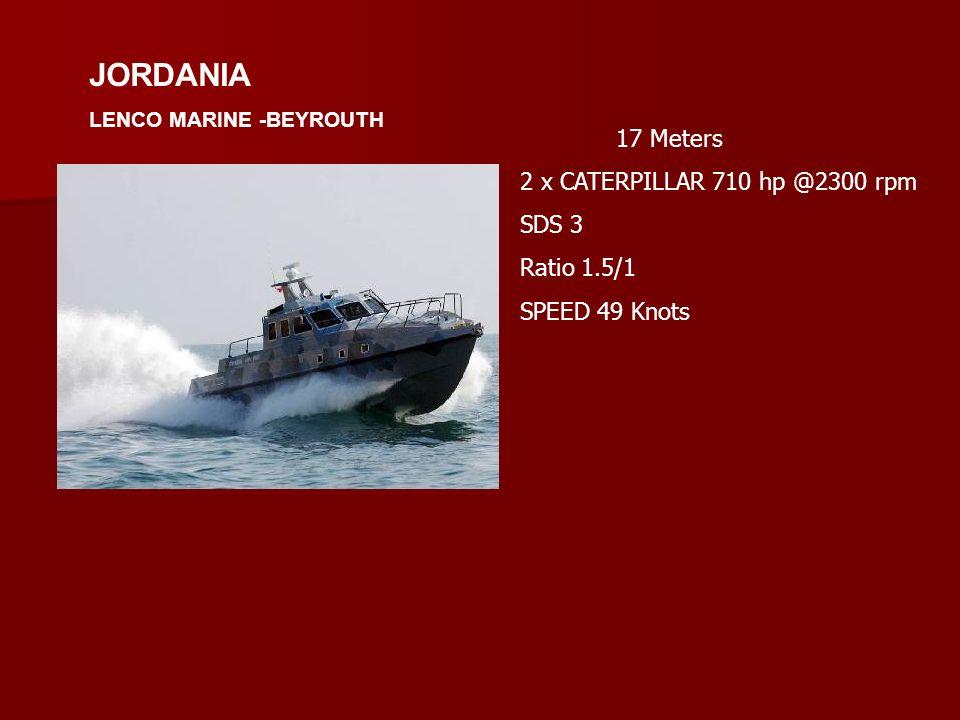 JORDANIA 17 Meters 2 x CATERPILLAR 710 hp @2300 rpm SDS 3 Ratio 1.5/1