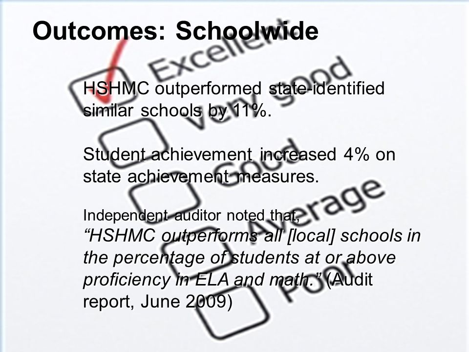 Outcomes: Schoolwide HSHMC outperformed state-identified similar schools by 11%. Student achievement increased 4% on state achievement measures.