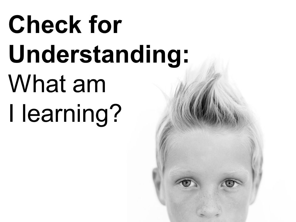 Check for Understanding: What am I learning