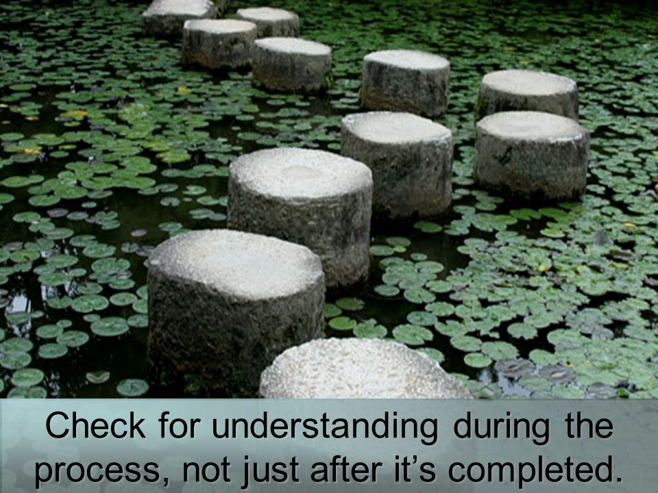 Check for understanding during the process, not just after it's completed.