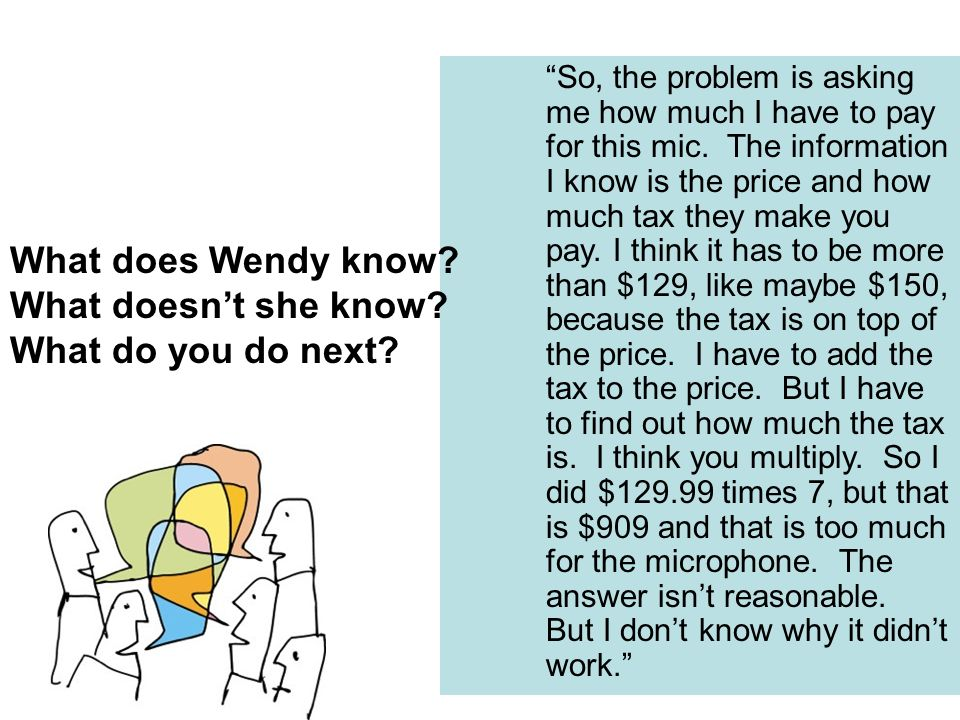 What does Wendy know What doesn't she know What do you do next