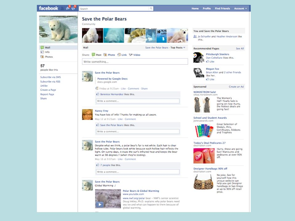 In English, students chose a worthy cause and established a Facebook page with information about it.