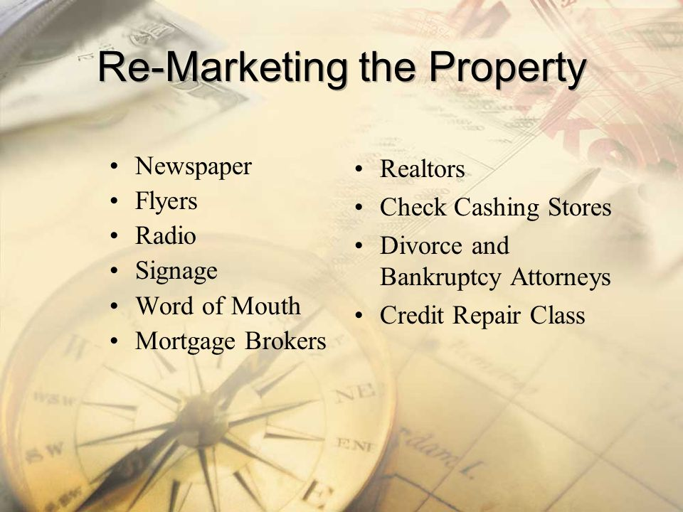 Re-Marketing the Property