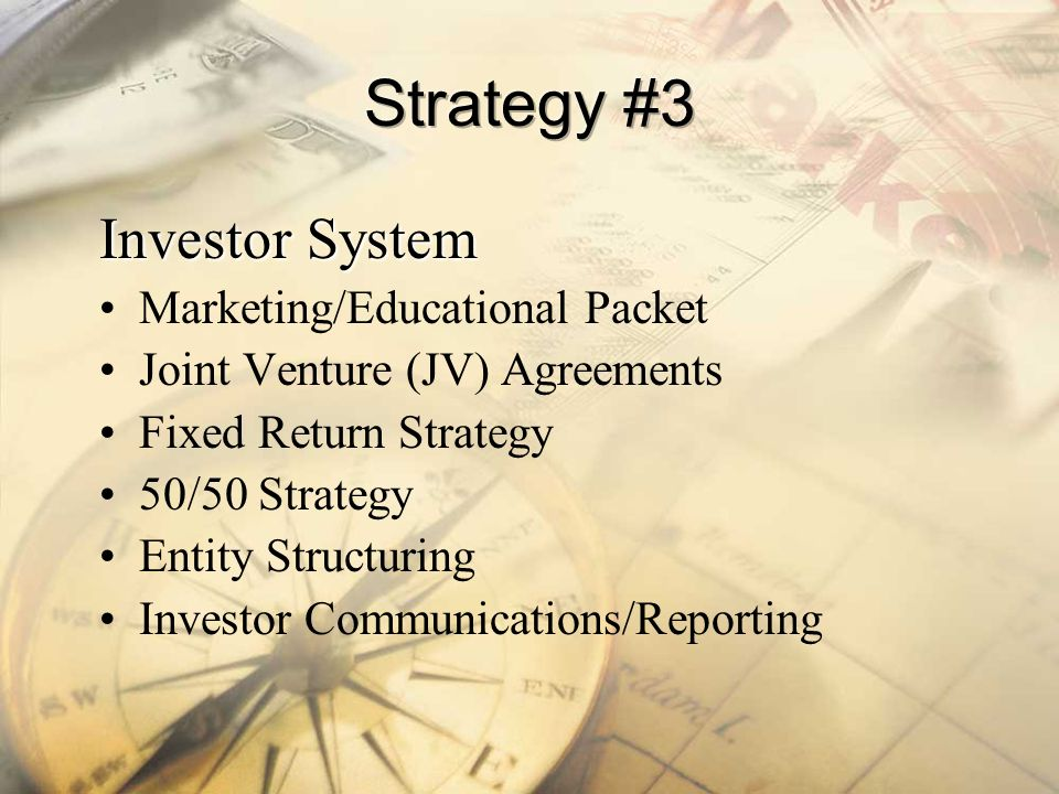 Strategy #3 Investor System Marketing/Educational Packet