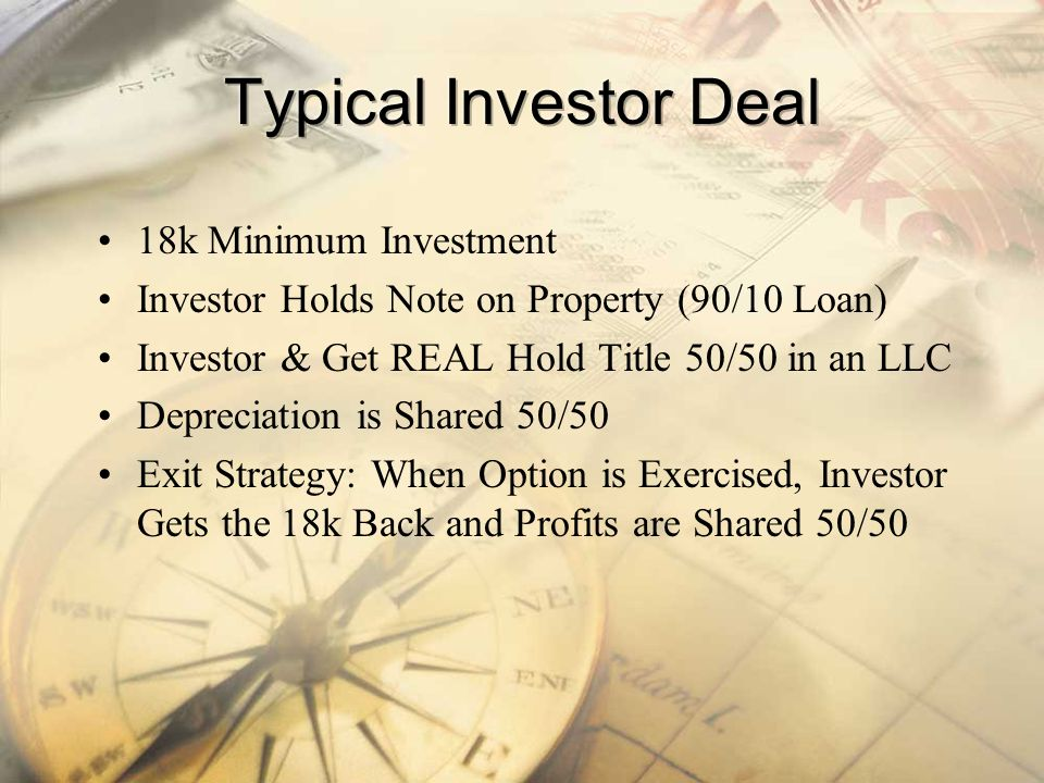Typical Investor Deal 18k Minimum Investment