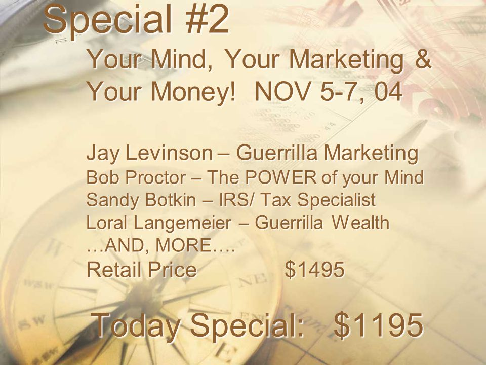 Special #2 Your Mind, Your Marketing & Your Money