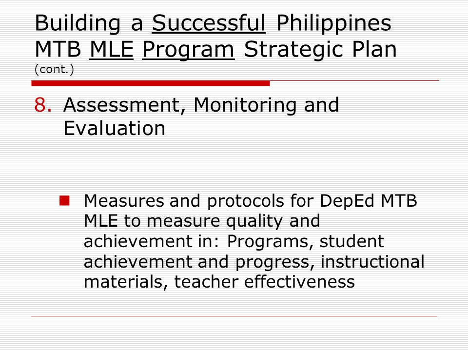 Building a Successful Philippines MTB MLE Program Strategic Plan (cont
