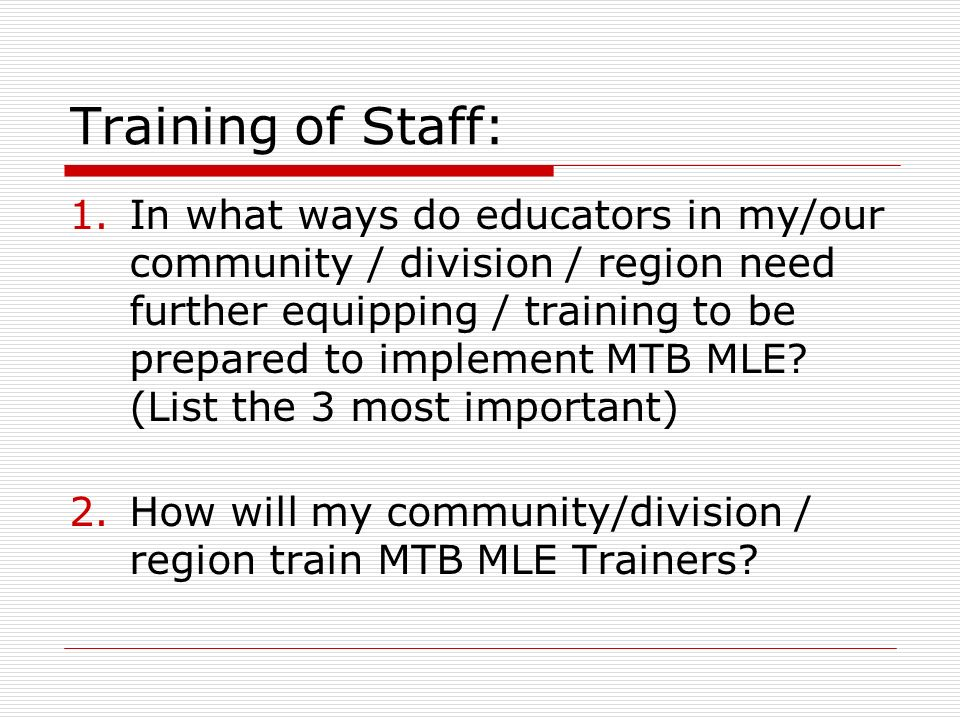 Training of Staff: